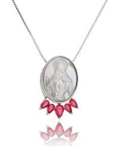 medalha de nossa senhora madreperola com zirconias rubis