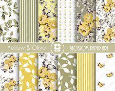 Papel Scrapbook Amarillo, Flores, Papeles Decorativos Floreados Amarillo y Gris, Papeles Decorativos para imprimir - 1788