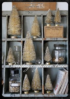 One Lucky Day: Good Things. What a sweet vignette of glittered bottle brush trees. Merry Little Christmas, Noel Christmas, Winter Christmas, All Things Christmas, Vintage Christmas, Christmas Ornaments, Christmas Mantles, Christmas Villages, Victorian Christmas