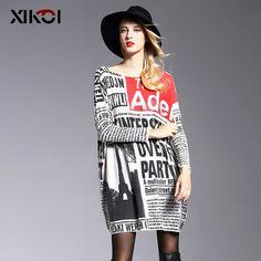 2017 Autumn Long Oversized Sweater Women Jumper Casual Batwing Sleeve Print Woman Sweaters Pullovers Fashion Pullover Clothing #XIKOI #sweaters #women_clothing #stylish_sweater #style #fashion