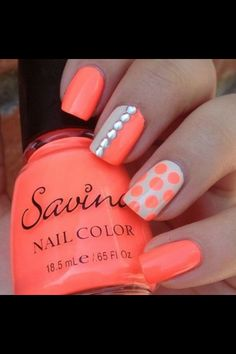 Summer nails cute orange color lol xox kellsie carter