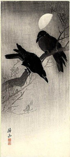 Two Crows and Half Moon by Ito Sozan, 1884 - ? Piece shown is actually a print rather than the original painting. Crow Art, Raven Art, Bird Art, Japanese Painting, Japanese Art, Gravure Photo, Crows Ravens, Foto Art, Art Graphique