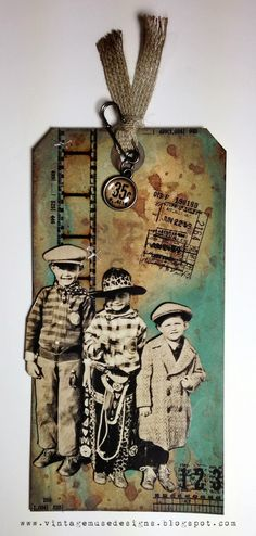 Heritage Photo Tag ~ made with Tim Holtz products!