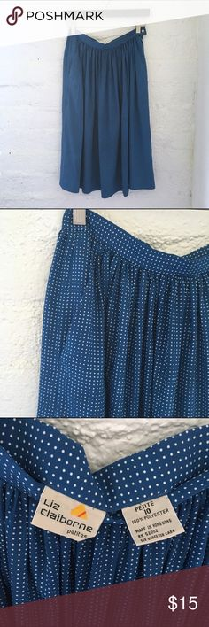 🍍VINTAGE🍍 Liz Claiborne A-Line Skirt 2 Angled hidden POCKETS 😍 Blue with white dots  Hidden side zipper with button closure  Length: 26in  100% Polyester  Condition: Like new!   ☑️No Pets  ☑️Non-Smoking home  ☑️Every item steamed throughly before shipped!  💌 Ships from Santa Monica, CA   🗝Follow me on Instagram! @koukil1908 ask to have a video of the item ✌️ Vintage Skirts A-Line or Full