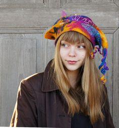 Unique fancy felted hat with tip and little dreadlocks от filcAlki