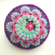 JAPANESE INSPIRED FELT BROOCH WITH KAFFE FASSETT FABRIC AND FREEFORM EMBROIDERY | by APPLIQUE-designedbyjane