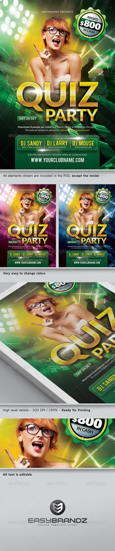 """Quiz Party Flyer Template   #GraphicRiver         A modern and unique flyer template for your next quiz event. Easy to modify, like changing colors, dimensions, etc. All text is editable. You can hide and show some layers and obtain more unique results! All elements shown are included in the PSD, except the model.   Features:   1 Print ready Photoshop file 1275px x 1875px (4×6"""" with .25"""" bleeds)  Built-in Free Font  Each layer has its own name for your convenience. The template is much…"""