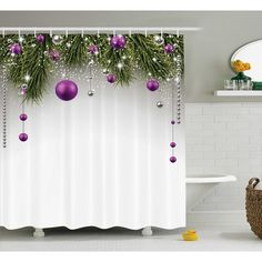 "The Holiday Aisle Christmas Tree Decorations Shower Curtain Size: 69"" W x 75"" L"