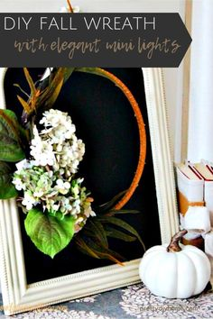 Make this easy embroidery hoop wreath in a few minutes. A very easy DIY Fall wreath idea that features sparkling mini lights for long Fall evenings. #fallcrafts #fallwreaths #diyfallcrafts #prettydiyhome Diy Fall Wreath, Fall Diy, Fall Wreaths, Harvest Party Decorations, Home Crafts, Diy Crafts, Fall Lanterns, Easy Diy Costumes, Flower Arrangements Simple
