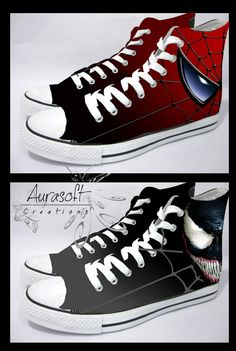 Custom Painted Converse Style Spiderman and Venom by Aurasoft, 60.00