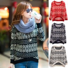 Womens Retro Totem Long Sleeve Sweater Casual Loose Pullover Knitwear Tops  For Freeshipping