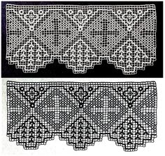 Modelos de barrados de crochê filé com motivos religiosos.