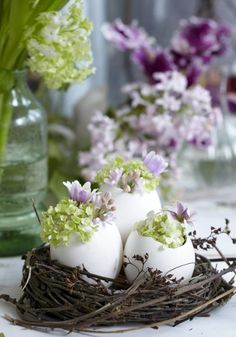 Spring / Easter decoration; birds nest with eggs and flowers  ~  blommande rede