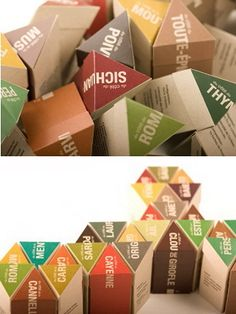 More interesting spice packaging.  Love the way you can put these together in different shapes.