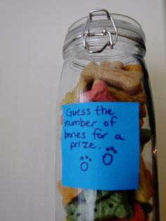 For some fun for the grown-ups, I had them guess how many dog bones were in a jar.
