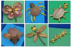 Children collect outdoors using zip-lock bag and then use what they have found to make a new mini-beast Insect Crafts, Bug Crafts, Leaf Crafts, Insect Art, Nature Crafts, Preschool Crafts, Autumn Crafts, Summer Crafts, Minibeast Art