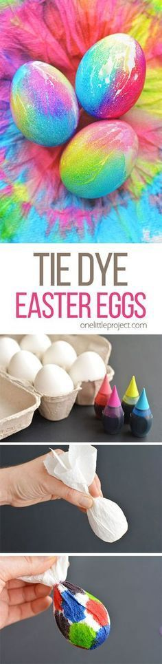 These tie dye Easter eggs are SO FUN and they're so simple to make! The colours are bright and beautiful and the eggs are completely safe to eat!