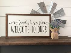 The perfect words for that gallery wall of family photos! Every family has a story 12x22 Customize with your own colors. Pictured item is shown with IVORY BACKGROUND, BLACK LETTERING, and DARK WALNUT FRAME.  This item is handmade right on the farm here in Idaho. Full of that farmhouse chic, Fixer-Upper style that were all craving. Customize your wood sign with your choice of lettering color and frame stain options. Perfect for any room of the house! Here at Huckleberry Avenue our…