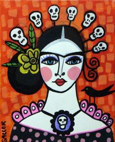 50 Off Today  Day of the Dead Mexican Folk Art by HeatherGallerArt, $10.00