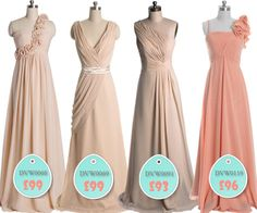 Vponsalewedding Long Peach Bridesmaid Dresses