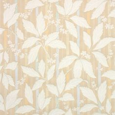 beautiful beige leafy botanical on pastel blue and orange stripes, an antique wallpaper from the Antique Wallpaper, Tiles Texture, Pastel Blue, 1930s, This Is Us, Stripes, Leaves, Beige, Orange