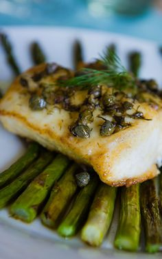 PAN-SEARED HALIBUT with CAPER DILL BUTTER SAUCE & ROASTED BABY ...