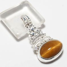 "925 SOLID STERLING SILVER NEW LOOK TIGER EYE GEMSTONE PANDENT  1.5"" #Handmade #PANDENT"