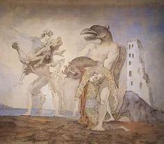 """Photo: La dépouille du minotaure en costume d'Arlequin. Rideau de scène pour la pièce """"14 juillet"""" de Romain Rolland, donnée le 14 juillet 1936 par le Théâtre du Peuple à l'Alhambra."""