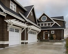 Ideas to work with dark brown exterior...think I would add black door and light fixtures
