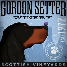 Gordon Setter Winery original graphic illustration on canvas 12 x 12 by Stephen Fowler