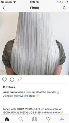 Couleur Schwarzkopf, Schwarzkopf Color, Schwarzkopf Hair, Platinum Blonde Toner, Silver Ombre Hair, Hair Color Formulas, Honey Blonde Hair, Hair Color Techniques, Love Your Hair