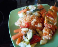 Rezept Schaschlik mit Sosse , Reis und Gemüse von Tines-Lieblingstopf - Rezept der Kategorie Hauptgerichte mit Fleisch