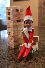 Elf on the Shelf idea: Jenga! #elfontheshelf