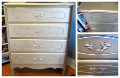 DIY Metallic Champagne dresser!  I used Krylon's satin metallic spray paint in the color Champagne Nouveau for the all over color. Lightly misted Krylon Fusion Metallic Shimmer over the top. Then I used Rub 'n Buff in Silver Leaf for the details and hardware. Apply with a cloth or paint brush, then buff around edges with clean cloth.