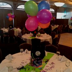 Centerpiece at 80's party decorated by Candie's Celebrations Unlimited!