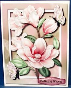 A5 Lovely Pink Magnolias and butterflys  on Craftsuprint designed by Ceredwyn Macrae - made by Cheryl French - Printed onto glossy photo paper. Attached base image to card stock using ds tape. Built up image with 1mm foam pads. - Now available for download!