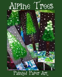 Beautiful Christmas Tree Art project. these would make wonderful greeting cards too. Very special Christmas DIYs