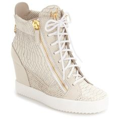 Women's Giuseppe Zanotti Ofelia Wedge Sneaker ($895) ❤ liked on Polyvore featuring shoes, sneakers, metallic silver leather, metallic sneakers, giuseppe zanotti trainers, giuseppe zanotti shoes, giuseppe zanotti sneakers and metallic wedge sneakers