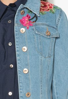 Zee Lane Denim, Jacheta albastra din denim cu aplicatii florale