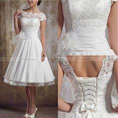 Novo Branco/Marfim Vintage De Renda Curto Vestidos de Noiva tamanho 4 6 8 10 12 14 16 18+ +