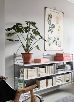 "String Pocket: This shelf is now available to all interior fans at home! - Classic and still trendy: ""String"" shelf put together yourself - Room, Interior, Home, Cozy Office Space, House Interior, Interior Design, Interior Inspo, Home And Living, Cozy Interior"
