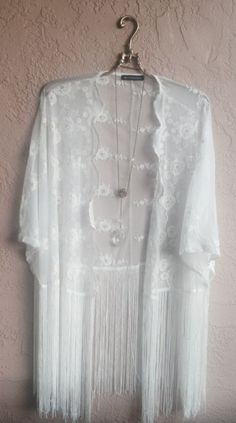 Sheer embroidery cape kimono with long fringe