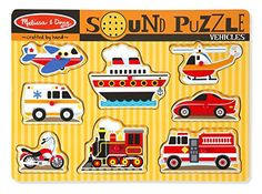 Melissa & Doug Vehicles Sound Puzzle (Wooden Peg Puzzle with Sound Effects, 8 Pieces) in Pegged Puzzles. Wooden Pegs, Wooden Puzzles, Jigsaw Puzzles, Puzzle Crafts, Alphabet Sounds, Puzzles For Toddlers, Play Vehicles, Melissa & Doug, Puzzle Pieces