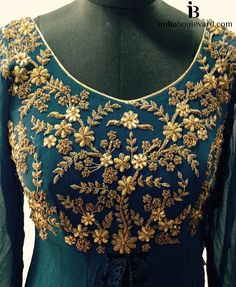 Straight to work with gold zardozi work on a emerald anarkali. For all prices and inquries, please email us at… Zardosi Embroidery, Indian Embroidery, Embroidery Suits, Hand Embroidery Designs, Beaded Embroidery, Embroidery Motifs, Saree Blouse Designs, Blouse Patterns, Lesage