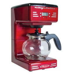 The Nostalgia RCOF120 Retro Series 12-Cup Programmable Coffee Maker will perk up your day with a freshly brewed pot of coffee! It features an easy-to-read backlit LED display and a push button control