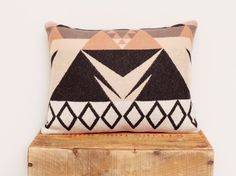 Geometric Wool Pillow // Triangle / Rose White Black