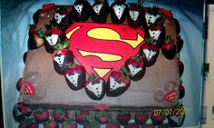 Superman grooms cake. Kccreation/ houston