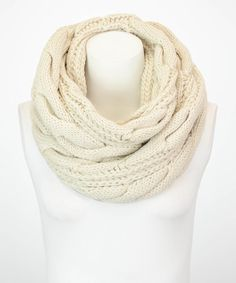 Look at this Leto Collection Ivory Classic Cable-Knit Infinity Scarf on #zulily today!