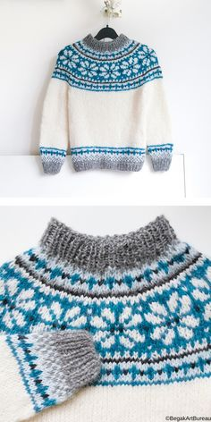 Nordic Style Knitted Sweaters for Kids Baby Sweater Patterns, Baby Sweater Knitting Pattern, Fair Isle Knitting Patterns, Cardigan Pattern, Knitting Designs, Knit Patterns, Knitting For Kids, Free Knitting, Baby Knitting