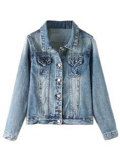 Blue Bleached Denim Jacket